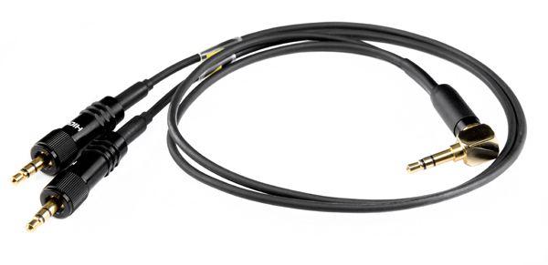 Kabelpeitsche 3,5 mm 90° Stereo-Klinke - 2x 3,5 mm Klinke