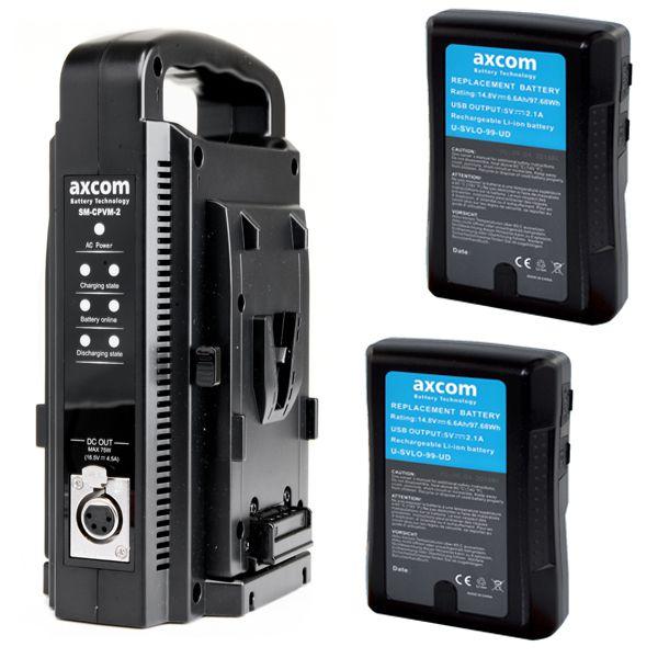 axcom V-MOUNT BUNDLE 2 V-Mount 14,8 V / 6,6 Ah 99 Wh flugtauglich