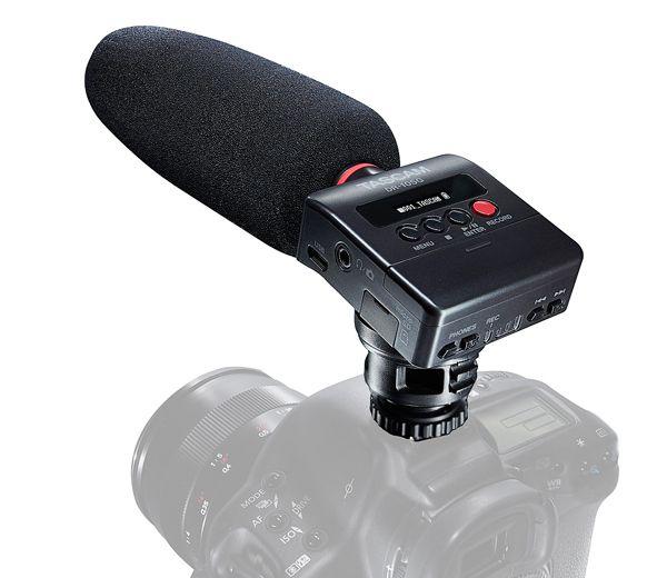 Tascam Audiorecorder mit Richtmikrofon für DSLR-Kameras