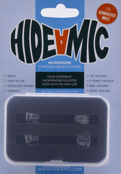 Hide-a-mic SENNHEISER MKE 2-Set: Bra- / Shirt- / Tie- / T-Shirt-Holder transparent