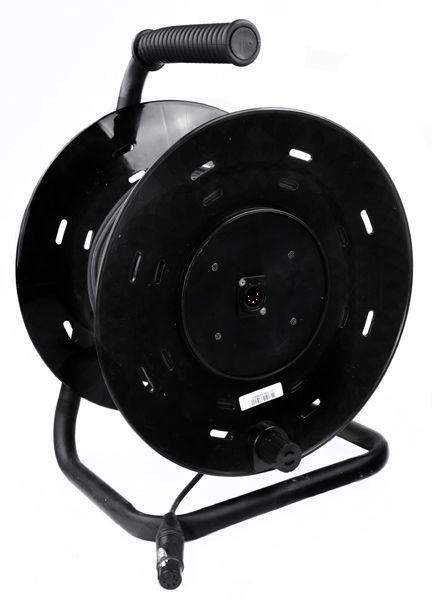 Stereo-Kabeltrommel 50 m XLR/F 5 pol auf XLR/M 5pol Einbaubuchse