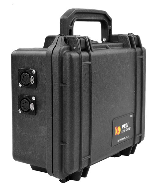 Peli Akku Case 12V/10Ah Peli 1150 mit 2 Einbaubuchsen XLR4F pol