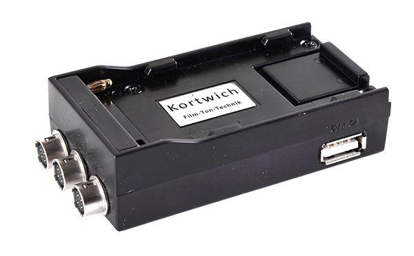 Kortwich NP-F Akkuhalter mit 3x Hirose-Buchsen 12V + USB 5V