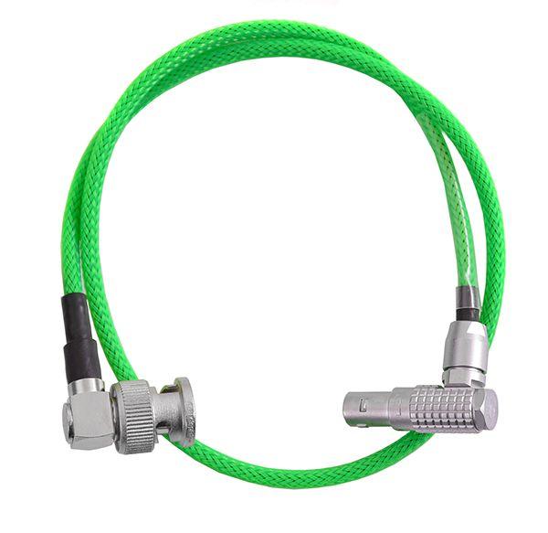 TCI Lemo 5pol 90° - BNC 90° mit grünem Gewebeschlauch