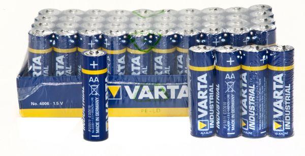 Varta Batterien Industrial Mignon AA LR6 4006 Alkaline Batterie Made in Germany in umweltschonender Verpackung