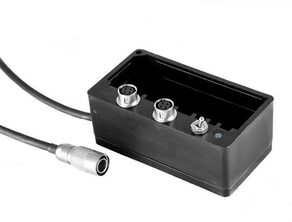 Akkuschuh NP-1 / 2x Hirose-Buchse + Ausgangskabel + Schalter ON/OFF
