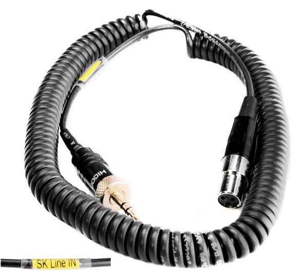 Spiral-Adapterkabel Line IN, TA3/F - 3,5 mm Stereo-Klinke schraubbar