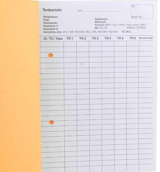 Tonberichtsbuch A5, 3 x 50 Blatt