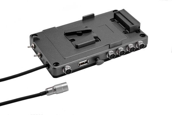 V-Mount Akkuhalter 5x Hirose, 1x USB 2 Gruppen schaltbar