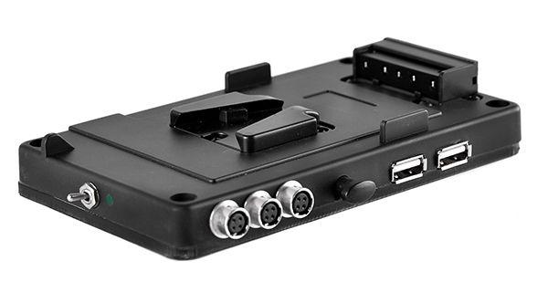 V-Mount Halter 3x Hirose Buchse, 2x USB inkl. ON/OFF Schalter