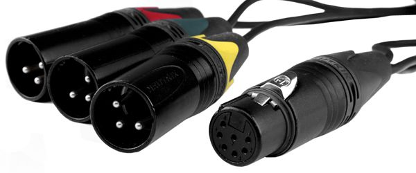 Adapterkabel-Peitsche XLR7F - 3x XLR3M yellow / green / red 15cm