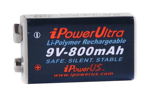 1 Stück 9V Li-Polymer Akkus iPowerUS mit 800 mAh